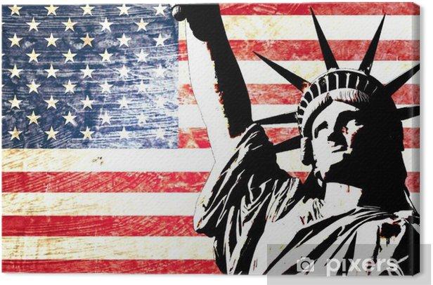 Obraz na płótnie Flaga USA Statua Wolności -