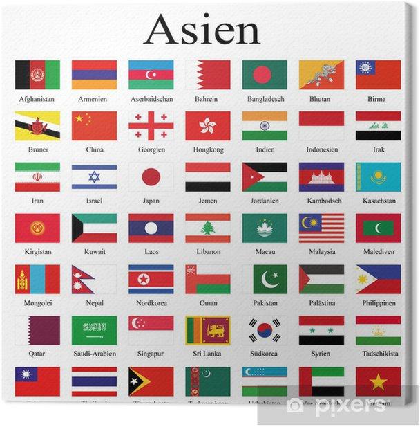 Obraz na płótnie Flagi krajów Azji - Azja
