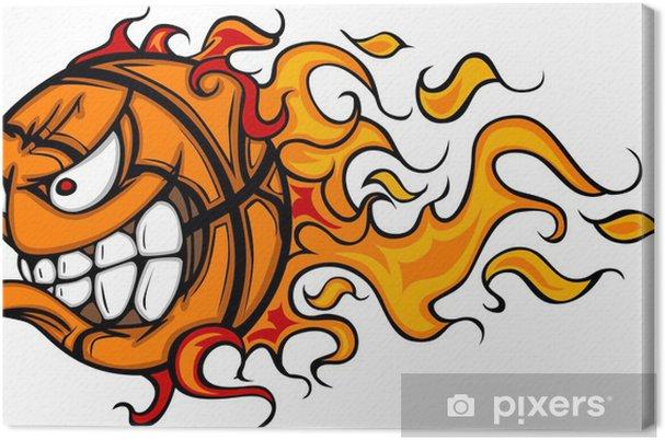 Obraz na płótnie Flaming Cartoon twarzy Koszykówka - Sporty drużynowe
