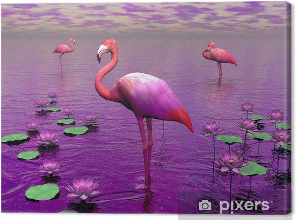 Obraz na płótnie Flamingi i nenufary - 3D render - Tematy