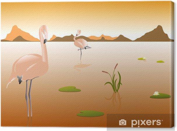 Obraz Na Płótnie Flamingi Na Brzegu Rzeki Pixers żyjemy By Zmieniać