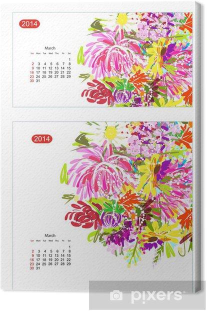 Obraz na płótnie Floral calendar 2014, march - Kalendarze
