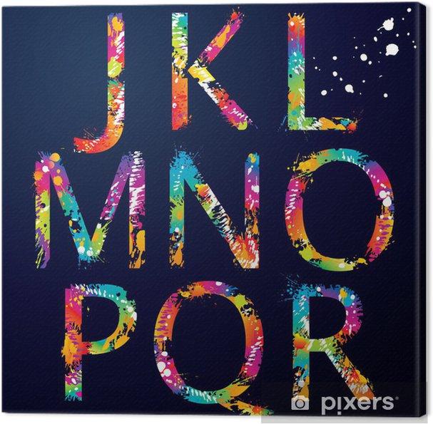 Obraz na płótnie Font - Kolorowe litery z kroplami i rozbryzgami od J do R - Tematy