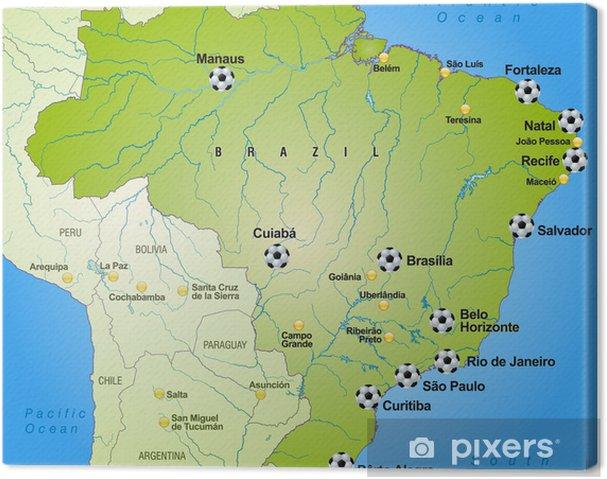 Obraz na płótnie Football mapa Brazylii z otoczeniem - Tematy