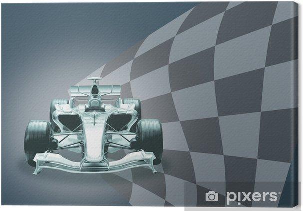 Obraz na płótnie Formuła 1 samochód i flaga - Tematy