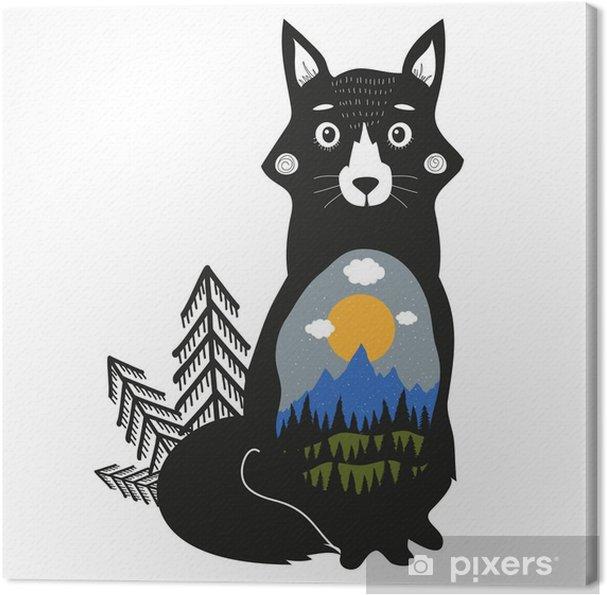Obraz na płótnie Fox, Blue Mountains, czarny las sosnowy, zielone wzgórza, chmury, słońce i śnieg. - Zwierzęta