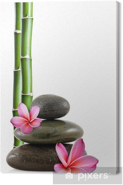Obraz na płótnie Frangipani kwiaty, Zen kamienie i bambusa - Style