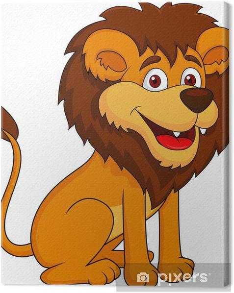 Obraz na płótnie Funny cartoon siedzi lew - Ssaki