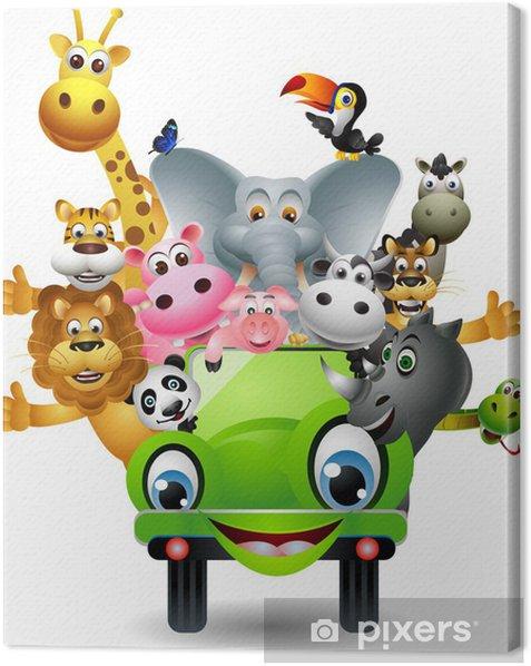 Obraz na płótnie Funny cartoon zwierząt określone w zielonym samochodzie - Naklejki na ścianę