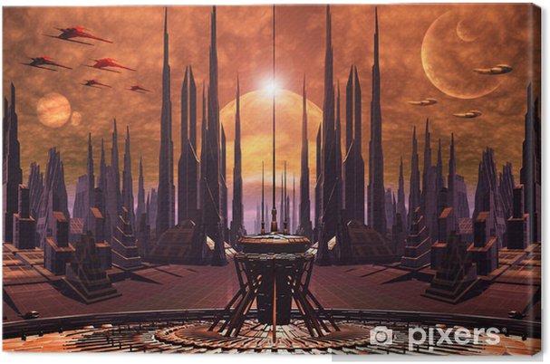Obraz na płótnie Futurystyczny obce miasto - grafika komputerowa - Style