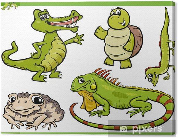 Obraz na płótnie Gady i płazy cartoon zestaw - Fikcyjne zwierzęta