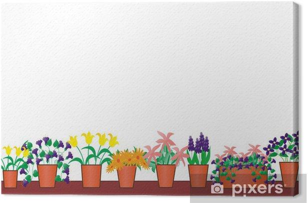 Obraz na płótnie Garnki - Kwiaty