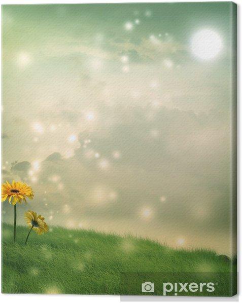 Obraz na płótnie Gerbery w fantazji wzgórzu pod księżycem - Kwiaty