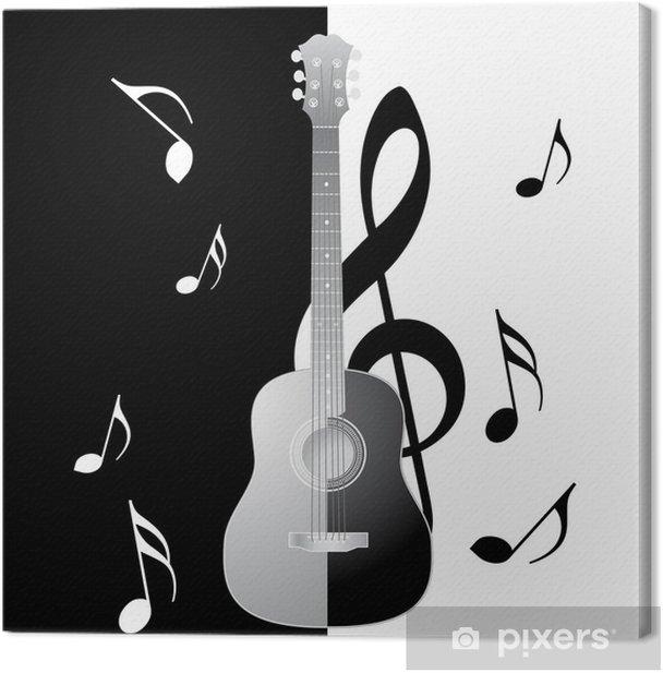 Obraz na płótnie Gitara czarno-biały - Muzyka