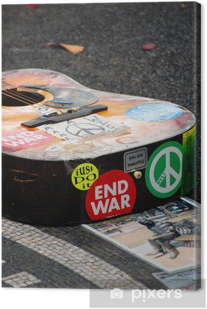 Obraz na płótnie Gitara na pomnik Johna Lennona w Strawberry Fields, NYC. - Ameryka