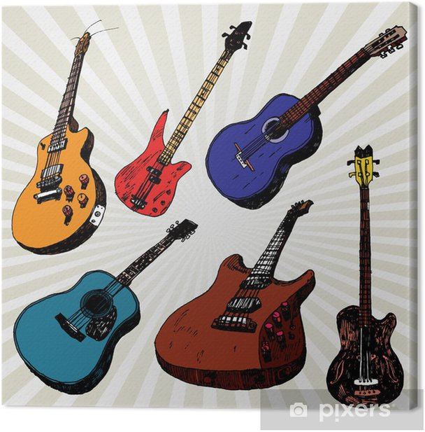 Obraz na płótnie Gitary kolorowe - Tematy