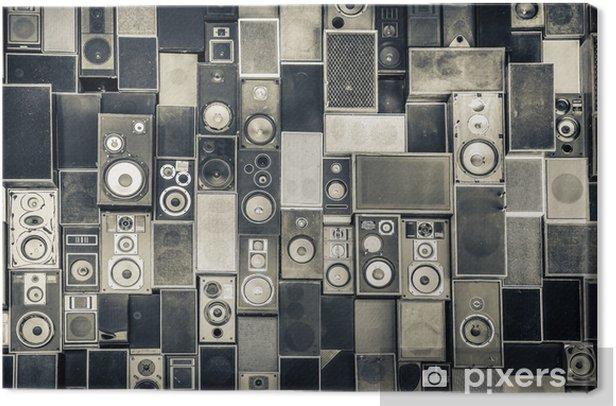 Obraz na płótnie Głośniki Muzyka na ścianie w monochromatycznym stylu vintage - iStaging