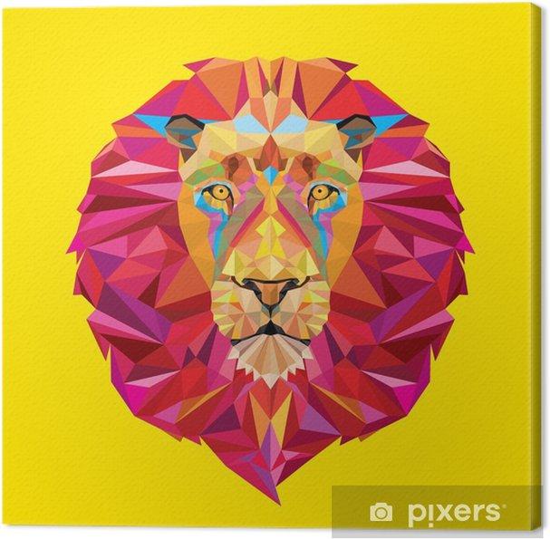 Obraz na płótnie Głowa lwa w geometryczny wzór -