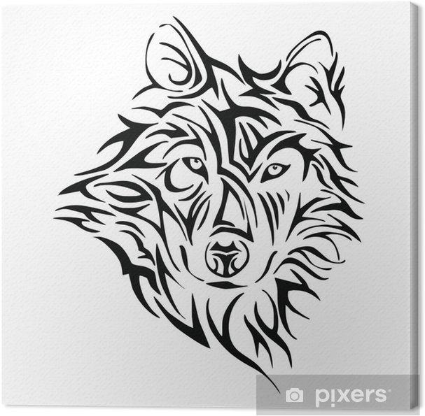 Obraz Na Płótnie Głowa Wilka Plemię Tatuaż Wektor