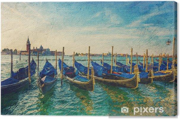 Obraz na płótnie Gondole - obraz w artystycznym stylu retro. - Miasta europejskie