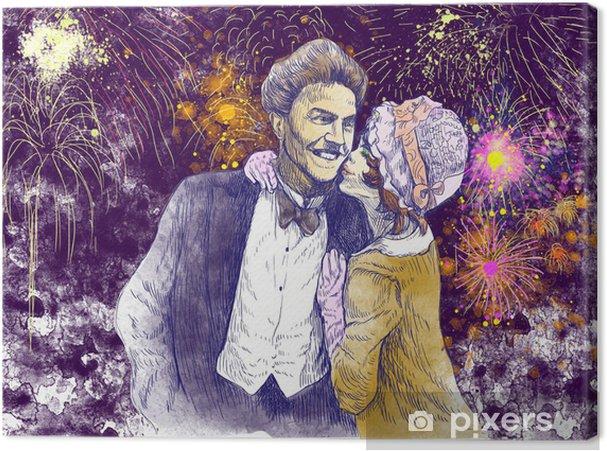 Obraz na płótnie Good luck pocałunek przed fajerwerków wieczornych - rysunek ręka - Święta międzynarodowe