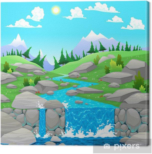 Obraz na płótnie Górski krajobraz z rzeką - Góry