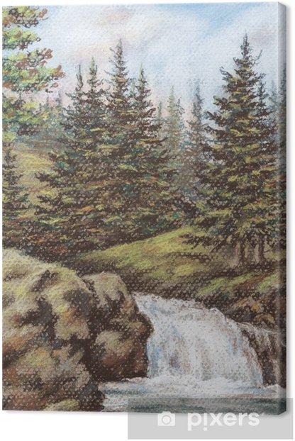 Obraz na płótnie Górskie rzeki z upadkiem - Pory roku