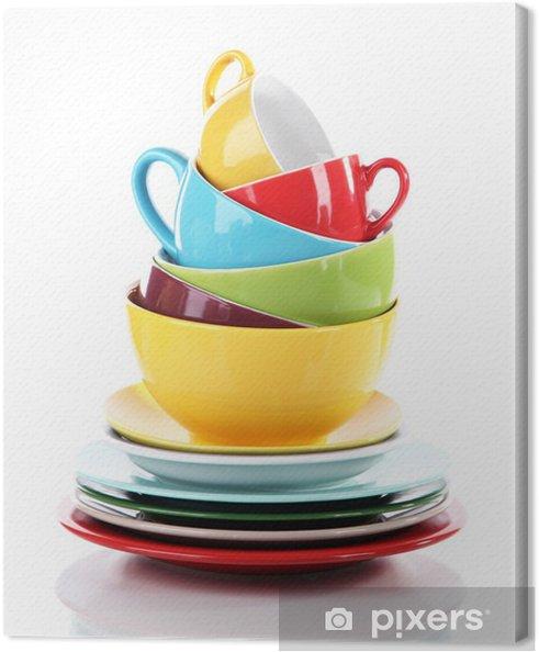 Obraz na płótnie Góry kolorowe naczynia samodzielnie na białym tle - Tematy
