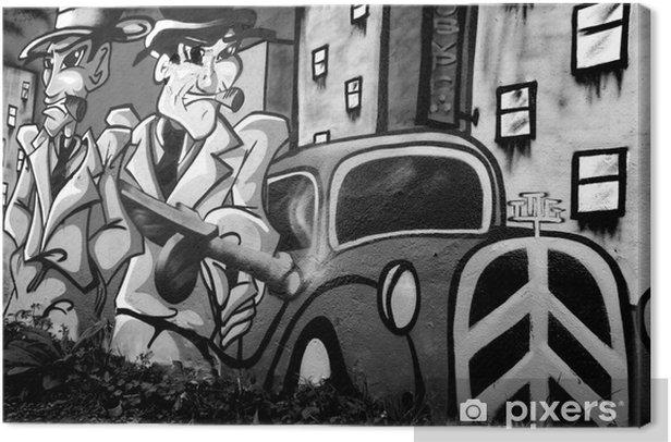 Obraz na płótnie Graffiti z dwoma gangsterami -