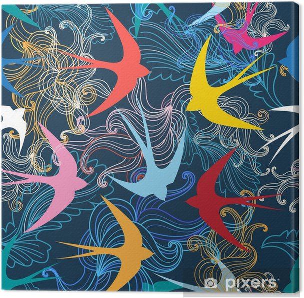Obraz na płótnie Graficzny wzór z kolorowe jaskółki - Zwierzęta