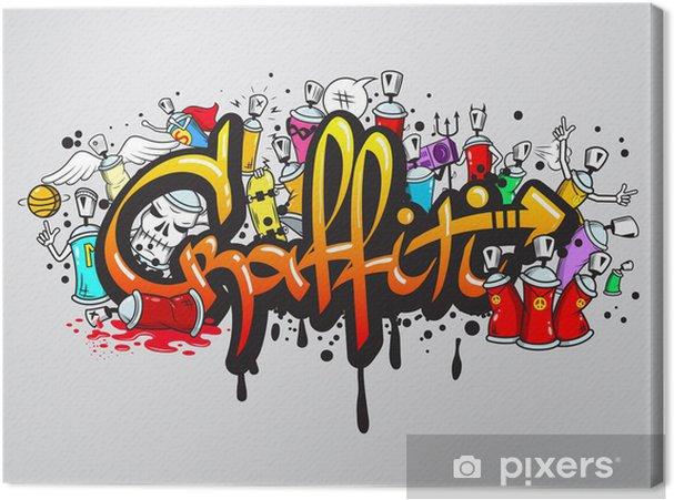 Obraz na płótnie Grafiti skład druku znaków -