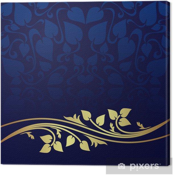 Obraz na płótnie Granatowe tło zdobione złoty kwiatowy granicy. - Tła