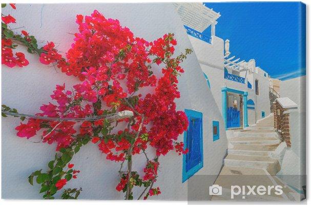 Obraz na płótnie Grecja wyspa Santorini, Cyklady, tradycyjny widok białego w. - Tematy