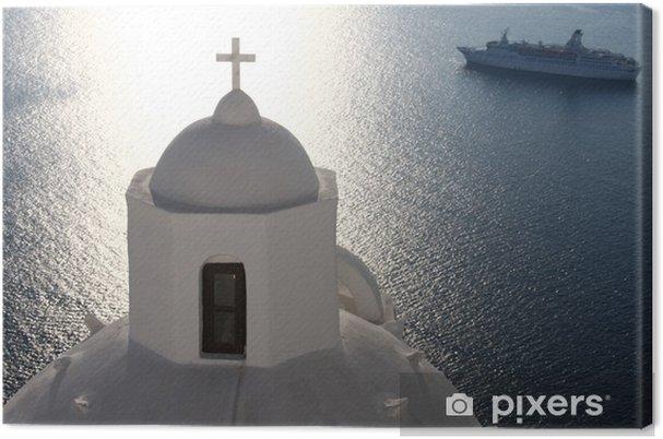 Obraz na płótnie Grecki Kościół i statek wycieczkowy - Wakacje