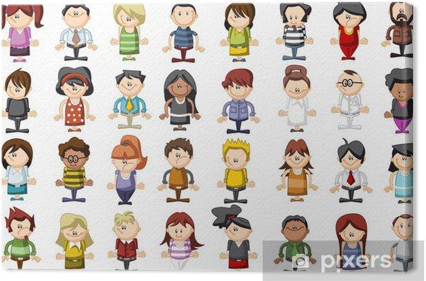 Obraz na płótnie Grupa 32 zabawnych ludzi z kreskówek - Grupy i tłumy