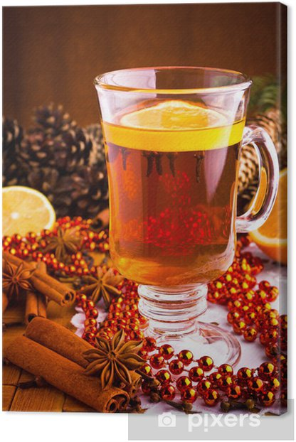 Obraz na płótnie Grzane wino z laski cynamonu i gwiazdki anyżu Boże Narodzenie - Święta międzynarodowe