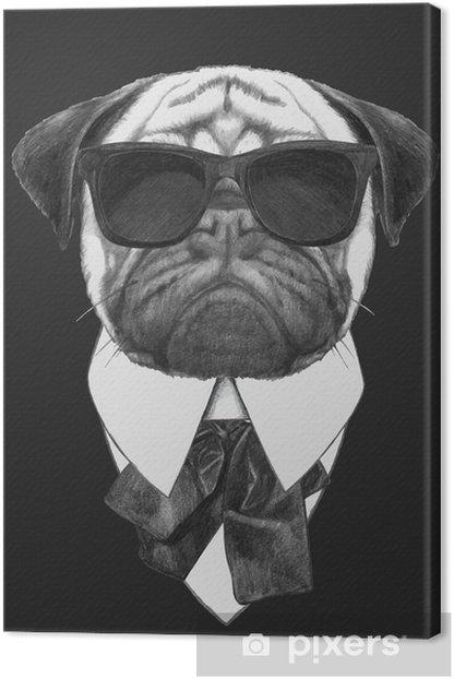 Obraz na płótnie Hand drawn fashion Illustration of Pug Dog with sunglasses. Vector isolated elements. - Mopsy