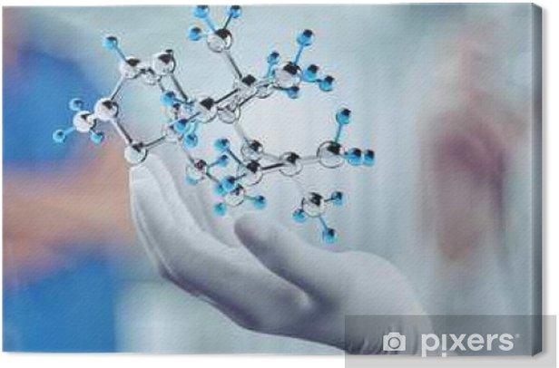 Obraz na płótnie Hand lekarz naukowiec posiada wirtualną strukturę molekularną w l. - Ludzie