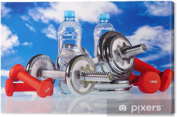 Obraz na płótnie Hantle fitness i wody na niebieskim tle nieba - Przeznaczenia