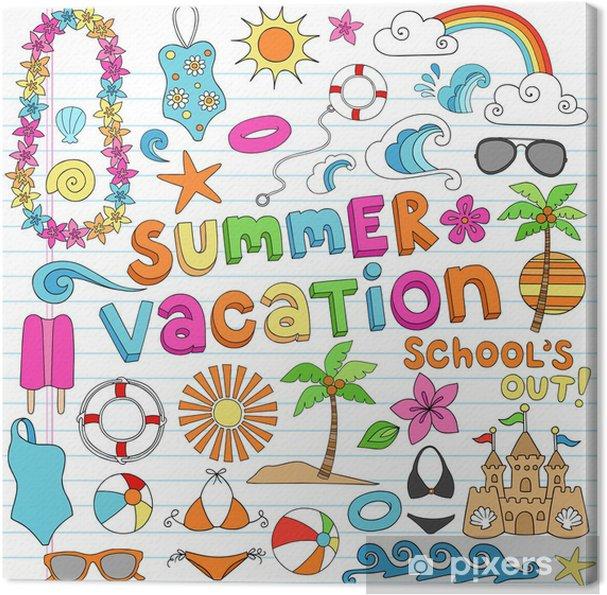 Obraz na płótnie Hawajski Doodles Summer Vacation Set - Wakacje