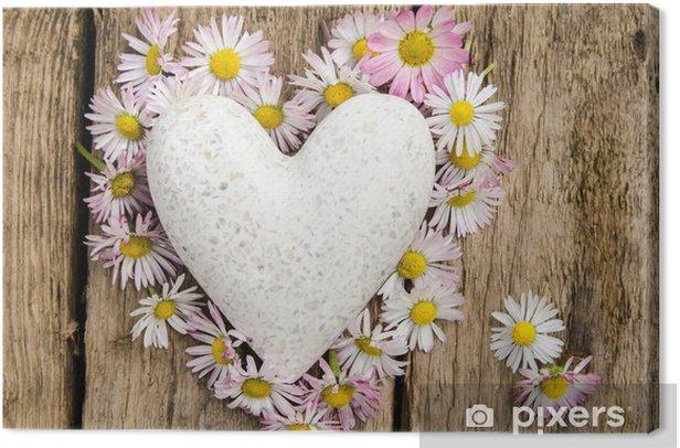 Obraz na płótnie Heart of Daisies z sercem marmuru - Szczęście