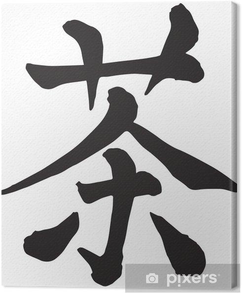 Obraz na płótnie Herbata japońska kaligrafia znaków kanji - Azja