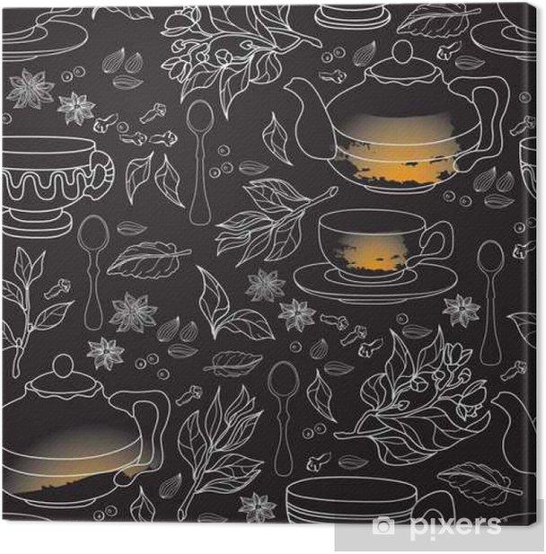 Obraz na płótnie Herbata, mięta i Spice szwu. Ręcznie rysowane obrazu. - Jedzenie