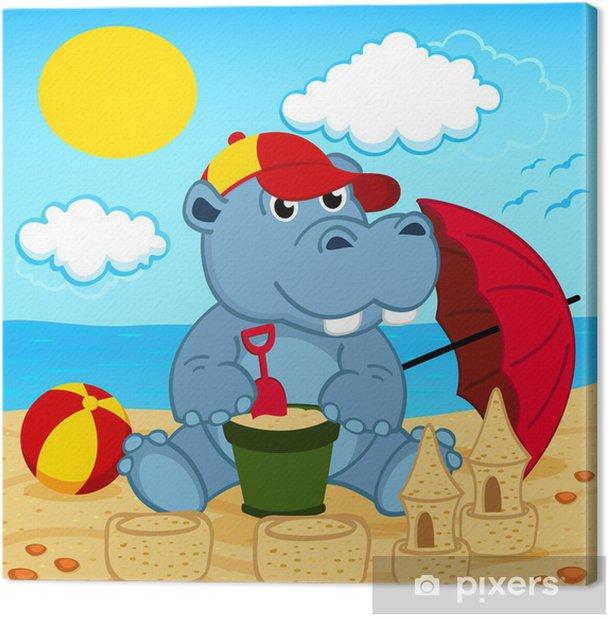 Obraz na płótnie Hipopotam na plaży - ilustracji wektorowych, eps - Tła