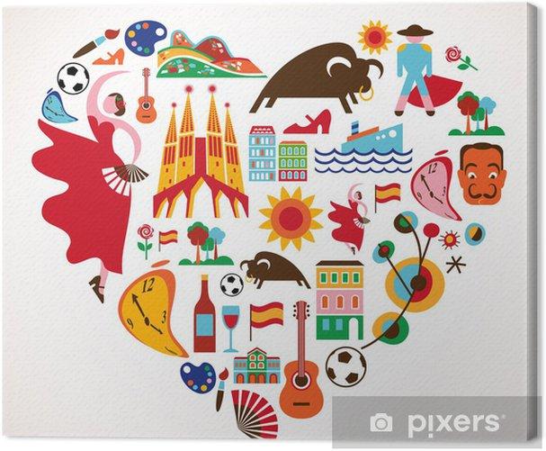 Obraz na płótnie Hiszpania miłość - serce z zestawu ikon wektorowych - Natura