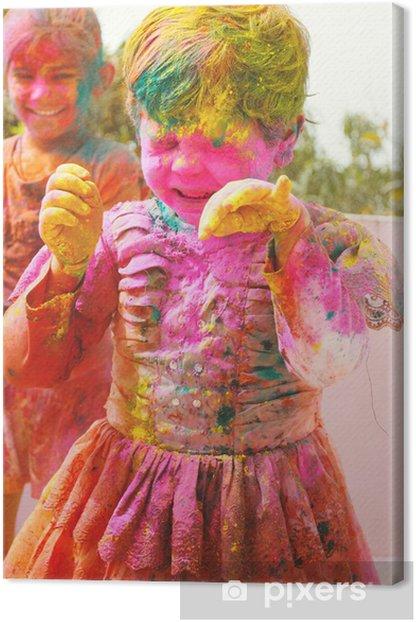 Obraz na płótnie Holi uroczystości w Indiach. Dwa indyjskie dzieci bawiące Holi - Rozrywka
