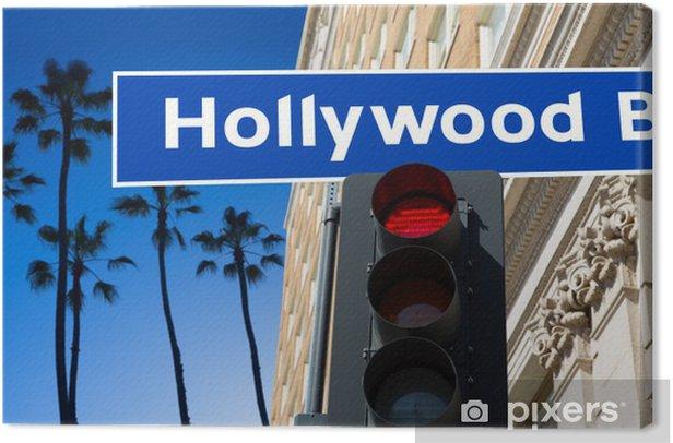 Obraz na płótnie Hollywood Boulevard znak ilustracji na palmami - Miasta amerykańskie