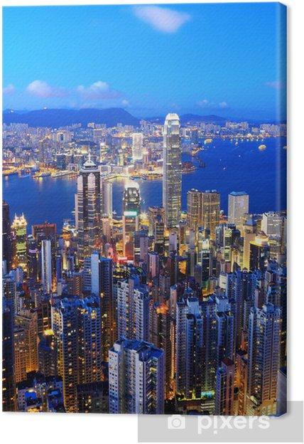 Obraz na płótnie Hong Kong skyline w nocy - Miasta azjatyckie