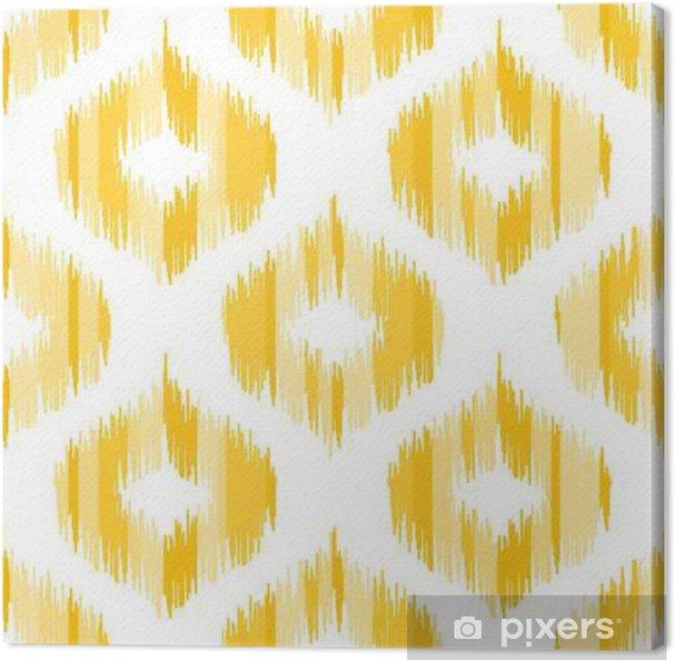 Obraz Na Płótnie Ikat Tkaniną Abstrakt Wzoru Geometrycznego Wektor Bez Szwu Tła Ilustracji Wektorowych Orientalny Dywan Wzór W Kolorze żółtym
