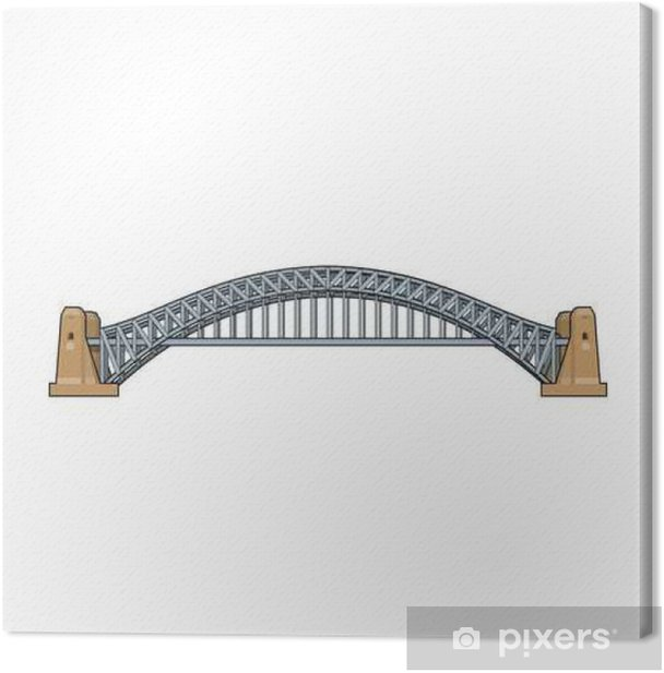 Obraz na płótnie Ikona Sydney Harbour Bridge w stylu kreskówki na białym tle. Australia ilustracji symbol Grafika wektorowa. - Budynki i architektura